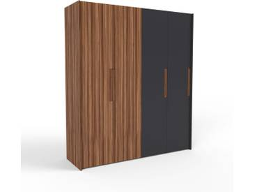 Kleiderschrank Nussbaum/Schwarz - Individueller Designer-Kleiderschrank - 204 x 233 x 62 cm, Selbst Designen, nur bei MYCS