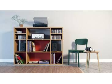 Schallplattenregal Eiche, Holz - Modernes Regal für Schallplatten: Hochwertige Qualität, einzigartiges Design - 154 x 118 x 35 cm, Selbst designen