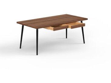 Schreibtisch Massivholz Nussbaum - Moderner Massivholz-Schreibtisch: mit 2 Schublade/n - Hochwertige Materialien - 180 x 75 x 90 cm, konfigurierbar