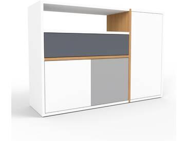 Sideboard Weiß - Sideboard: Schubladen in Anthrazit & Türen in Weiß - Hochwertige Materialien - 116 x 80 x 35 cm, konfigurierbar