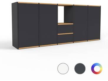 Sideboard Schwarz - Sideboard: Schubladen in Schwarz & Türen in Schwarz - Hochwertige Materialien - 195 x 80 x 35 cm, konfigurierbar