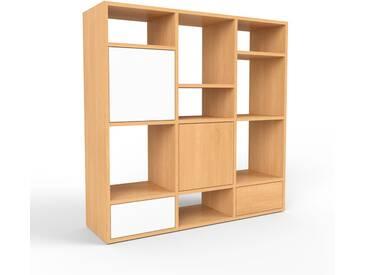 Regalsystem Buche - Regalsystem: Schubladen in Weiß & Türen in Weiß - Hochwertige Materialien - 118 x 118 x 35 cm, konfigurierbar