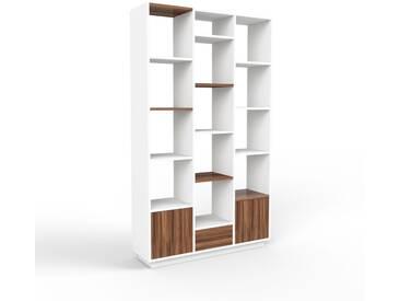 Aktenschrank Weiß - Büroschrank: Schubladen in Nussbaum & Türen in Nussbaum - Hochwertige Materialien - 118 x 200 x 35 cm, Modular