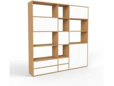 Regalsystem Eiche - Regalsystem: Schubladen in Weiß & Türen in Weiß - Hochwertige Materialien - 190 x 195 x 35 cm, konfigurierbar