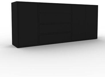 Sideboard Schwarz - Sideboard: Schubladen in Schwarz & Türen in Schwarz - Hochwertige Materialien - 190 x 80 x 35 cm, konfigurierbar