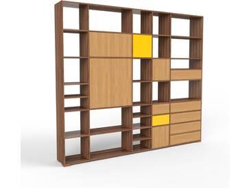 Holzregal Nussbaum - Modernes Regal aus Holz: Schubladen in Eiche & Türen in Eiche - 267 x 235 x 35 cm, Personalisierbar