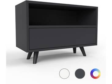 TV-Schrank Schwarz - Moderner Fernsehschrank: Schubladen in Schwarz - 77 x 53 x 35 cm, konfigurierbar