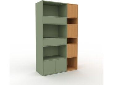 Aktenregal Nebelgrün - Büroregal: Schubladen in Nebelgrün & Türen in Eiche - Hochwertige Materialien - 116 x 195 x 47 cm, konfigurierbar