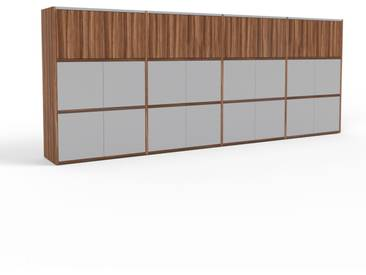 Highboard Nussbaum - Elegantes Highboard: Türen in Grau - Hochwertige Materialien - 301 x 118 x 35 cm, Selbst designen
