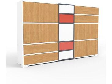 Aktenschrank Weiß - Büroschrank: Schubladen in Eiche & Türen in Eiche - Hochwertige Materialien - 190 x 120 x 35 cm, Modular