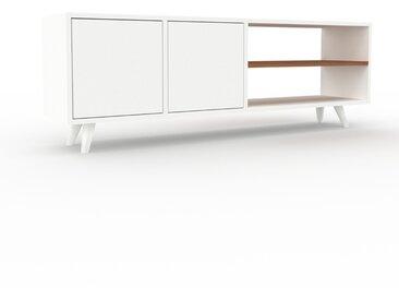 Lowboard Weiß - Designer-TV-Board: Türen in Weiß - Hochwertige Materialien - 154 x 53 x 35 cm, Komplett anpassbar