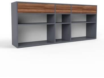 Sideboard Anthrazit - Designer-Sideboard: Schubladen in Nussbaum - Hochwertige Materialien - 190 x 80 x 35 cm, Individuell konfigurierbar