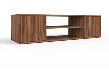 TV-Schrank Nussbaum - Moderner Fernsehschrank: Türen in Nussbaum - 154 x 41 x 47 cm, konfigurierbar
