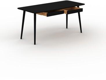 Schreibtisch Massivholz Schwarz - Moderner Massivholz-Schreibtisch: mit 2 Schublade/n - Hochwertige Materialien - 160 x 75 x 70 cm, konfigurierbar
