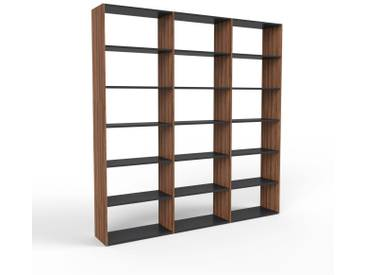 Bücherregal Nussbaum, Holz - Modernes Regal für Bücher: Hochwertige Qualität, einzigartiges Design - 226 x 233 x 35 cm, konfigurierbar