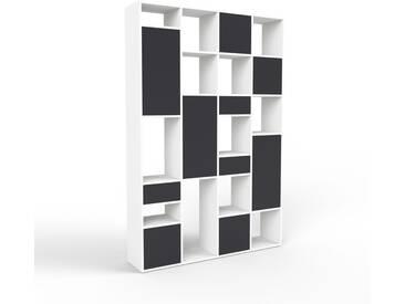 Regalsystem Weiß - Regalsystem: Schubladen in Schwarz & Türen in Schwarz - Hochwertige Materialien - 156 x 233 x 35 cm, konfigurierbar