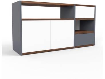 Sideboard Anthrazit - Sideboard: Schubladen in Anthrazit & Türen in Weiß - Hochwertige Materialien - 116 x 61 x 35 cm, konfigurierbar