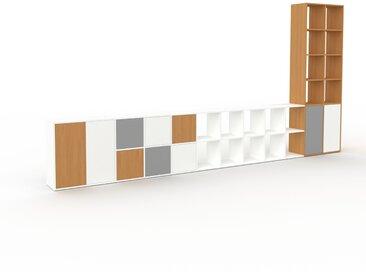 Regalsystem Weiß - Flexibles Regalsystem: Türen in Weiß - Hochwertige Materialien - 462 x 233 x 35 cm, Komplett anpassbar