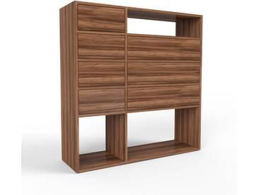 Highboard Nussbaum - Elegantes Highboard: Schubladen in Nussbaum - Hochwertige Materialien - 116 x 118 x 35 cm, Selbst designen