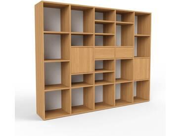 Bücherregal Eiche - Modernes Regal für Bücher: Schubladen in Eiche & Türen in Eiche - 195 x 157 x 35 cm, konfigurierbar