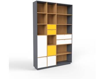 Bücherregal Anthrazit - Modernes Regal für Bücher: Schubladen in Gelb & Türen in Weiß - 154 x 239 x 35 cm, konfigurierbar
