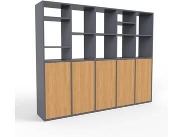 Regalsystem Anthrazit - Flexibles Regalsystem: Türen in Eiche - Hochwertige Materialien - 195 x 157 x 35 cm, Komplett anpassbar