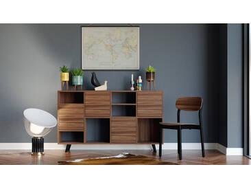 Kommode Nussbaum - Design-Lowboard: Türen in Nussbaum - Hochwertige Materialien - 156 x 91 x 35 cm, Selbst zusammenstellen