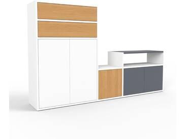 TV-Schrank Weiß - Fernsehschrank: Schubladen in Eiche & Türen in Weiß - 190 x 118 x 35 cm, konfigurierbar