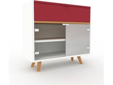 Vitrine Burgundrot - Moderne Glasvitrine: Schubladen in Burgundrot & Türen in Kristallglas klar - Hochwertige Materialien - 77 x 72 x 35 cm, konfigurierbar