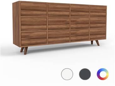 Sideboard Nussbaum - Designer-Sideboard: Schubladen in Nussbaum - Hochwertige Materialien - 156 x 72 x 35 cm, Individuell konfigurierbar