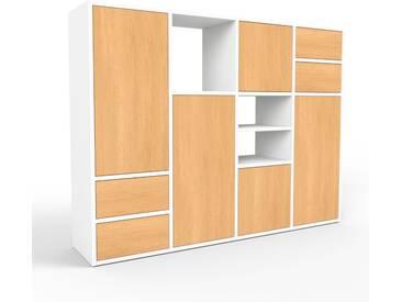 Aktenschrank Weiß - Büroschrank: Schubladen in Buche & Türen in Buche - Hochwertige Materialien - 156 x 118 x 35 cm, Modular