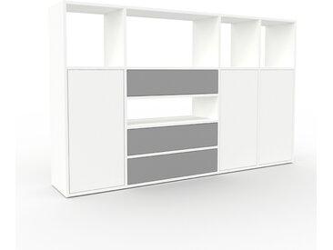 Highboard Weiß - Highboard: Schubladen in Grau & Türen in Weiß - Hochwertige Materialien - 193 x 118 x 35 cm, Selbst designen