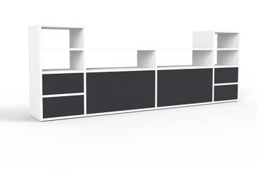 Sideboard Weiß - Sideboard: Schubladen in Schwarz & Türen in Schwarz - Hochwertige Materialien - 229 x 80 x 35 cm, konfigurierbar