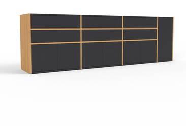 TV-Schrank Eiche - Fernsehschrank: Schubladen in Schwarz & Türen in Schwarz - 265 x 80 x 47 cm, konfigurierbar