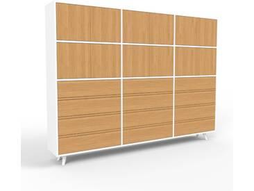 Sideboard Weiß - Sideboard: Schubladen in Eiche & Türen in Eiche - Hochwertige Materialien - 226 x 168 x 35 cm, konfigurierbar