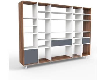 Bücherregal Weiß - Modernes Regal für Bücher: Schubladen in Anthrazit & Türen in Anthrazit - 231 x 168 x 35 cm, konfigurierbar
