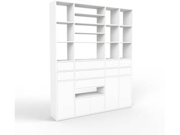 Bücherregal Weiß - Modernes Regal für Bücher: Schubladen in Weiß & Türen in Weiß - 193 x 233 x 35 cm, konfigurierbar