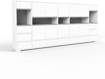 Aktenschrank Weiß - Büroschrank: Schubladen in Weiß & Türen in Weiß - Hochwertige Materialien - 267 x 120 x 35 cm, Modular