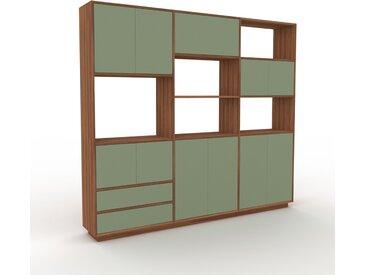 Wohnwand Nebelgrün - Individuelle Designer-Regalwand: Schubladen in Nebelgrün & Türen in Nebelgrün - Hochwertige Materialien - 226 x 200 x 35 cm, Konfigurator
