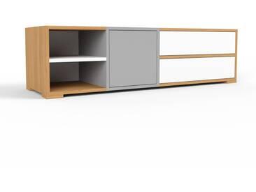 TV-Schrank Eiche - Fernsehschrank: Schubladen in Weiß & Türen in Grau - 154 x 43 x 47 cm, konfigurierbar