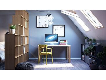 Schreibtisch Massivholz Weiß - Moderner Massivholz-Schreibtisch: Einzigartiges Design - 140 x 76 x 90 cm, konfigurierbar
