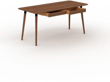 Schreibtisch Massivholz Nussbaum - Moderner Massivholz-Schreibtisch: mit 2 Schublade/n - Hochwertige Materialien - 160 x 75 x 70 cm, konfigurierbar