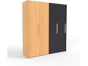 Kleiderschrank Buche/Schwarz - Individueller Designer-Kleiderschrank - 204 x 233 x 62 cm, Selbst Designen, nur bei MYCS