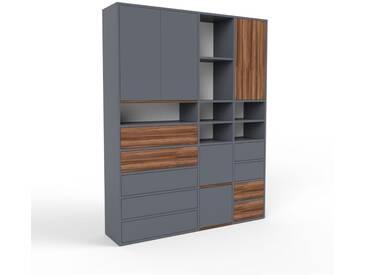 Aktenschrank Anthrazit - Büroschrank: Schubladen in Anthrazit & Türen in Anthrazit - Hochwertige Materialien - 154 x 195 x 35 cm, Modular