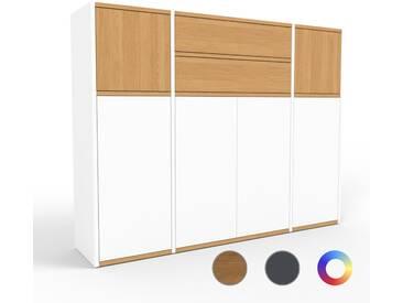 Highboard Weiß - Highboard: Schubladen in Eiche & Türen in Weiß - Hochwertige Materialien - 154 x 118 x 35 cm, Selbst designen