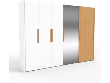 Kleiderschrank Weiß/Eiche - Individueller Designer-Kleiderschrank - 314 x 233 x 65 cm, Selbst Designen, Schuhauszug/Kleiderstange/hohe Schublade/Schublade Glasfront/Kleiderlift/Hosenhalter