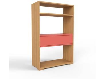 Bücherregal Eiche - Modernes Regal für Bücher: Schubladen in Rot - 77 x 120 x 35 cm, Individuell konfigurierbar