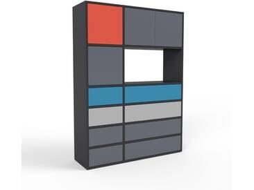 Regalsystem Schwarz - Regalsystem: Schubladen in Anthrazit & Türen in Anthrazit - Hochwertige Materialien - 116 x 157 x 35 cm, konfigurierbar