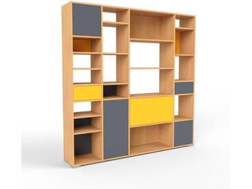 Bücherregal Buche - Modernes Regal für Bücher: Schubladen in Gelb & Türen in Anthrazit - 193 x 196 x 35 cm, konfigurierbar