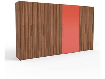 Kleiderschrank Nussbaum, Holz - Individueller Designer-Kleiderschrank - 404 x 233 x 65 cm, Selbst Designen, hohe Schublade/Schublade Glasfront/Kleiderlift/Hosenhalter